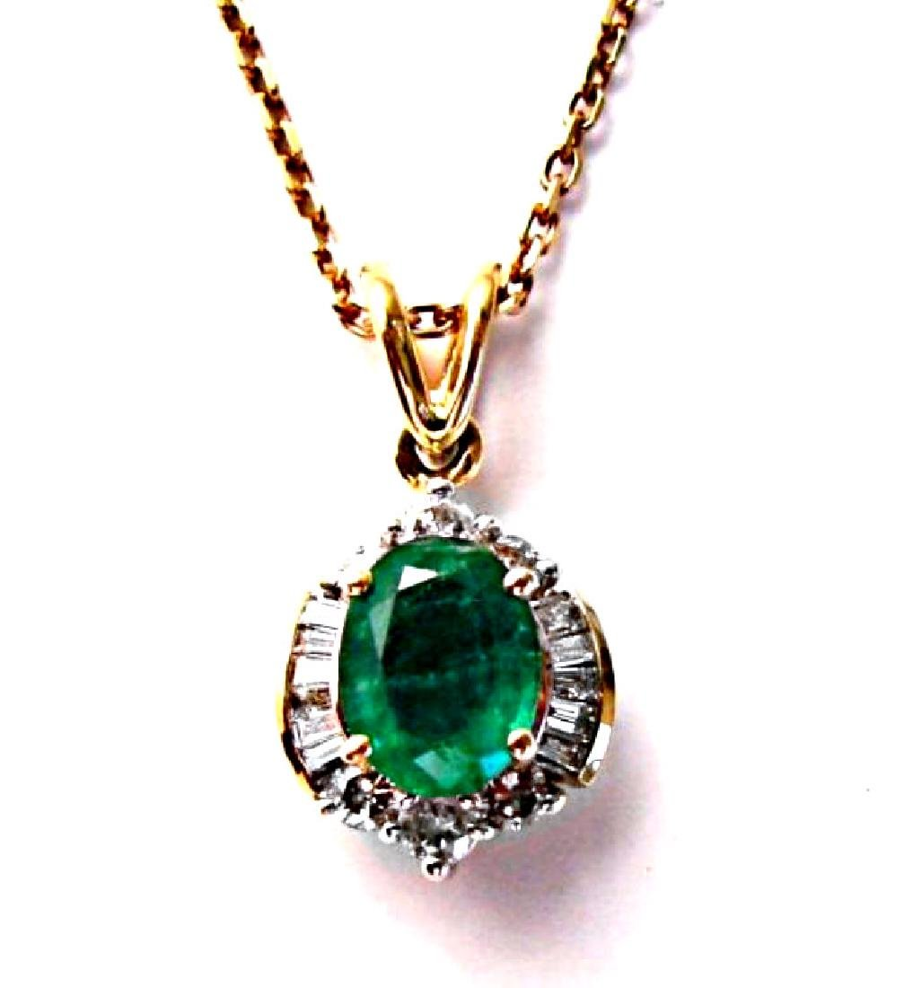 Emerald-Diamond Pendant 2.79Ct14k Y/g