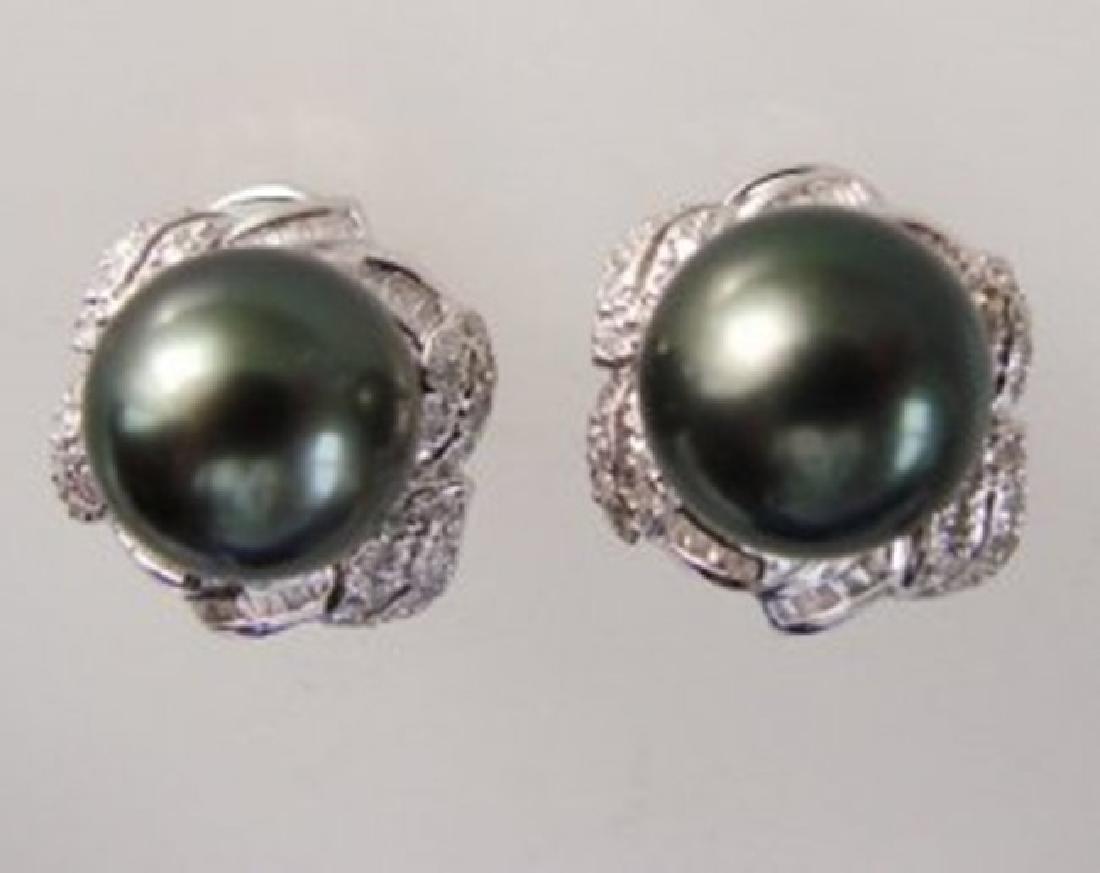 Tahitian Pearl Diamonds Earrings 1.04Ct 14k W/g