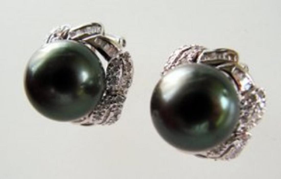 Tahitian Pearl Diamonds Earrings 1.04Ct 14k W/g - 2