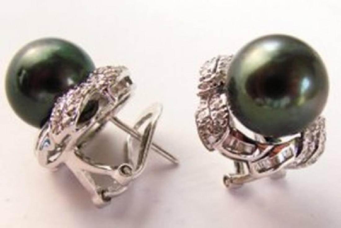 Tahitian Pearl Diamonds Earrings 1.04Ct 14k W/g - 3