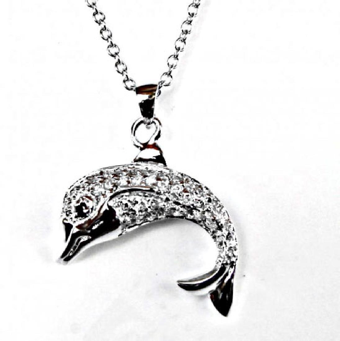 Creation Diamond/ Necklace .86CT 18k W/G Overlay