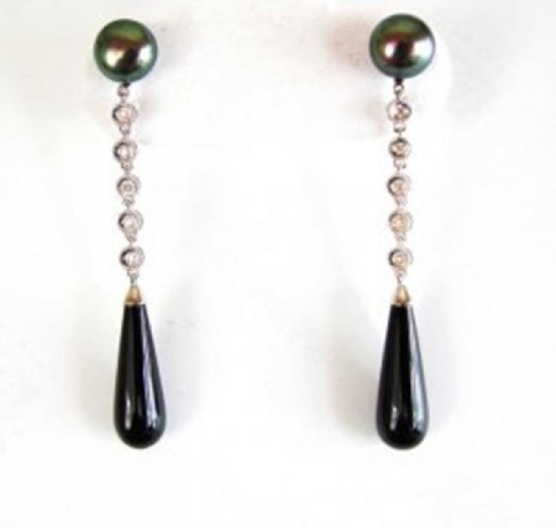 Diamond-Pearl-Onxy Earrings Dangle 14k W/g