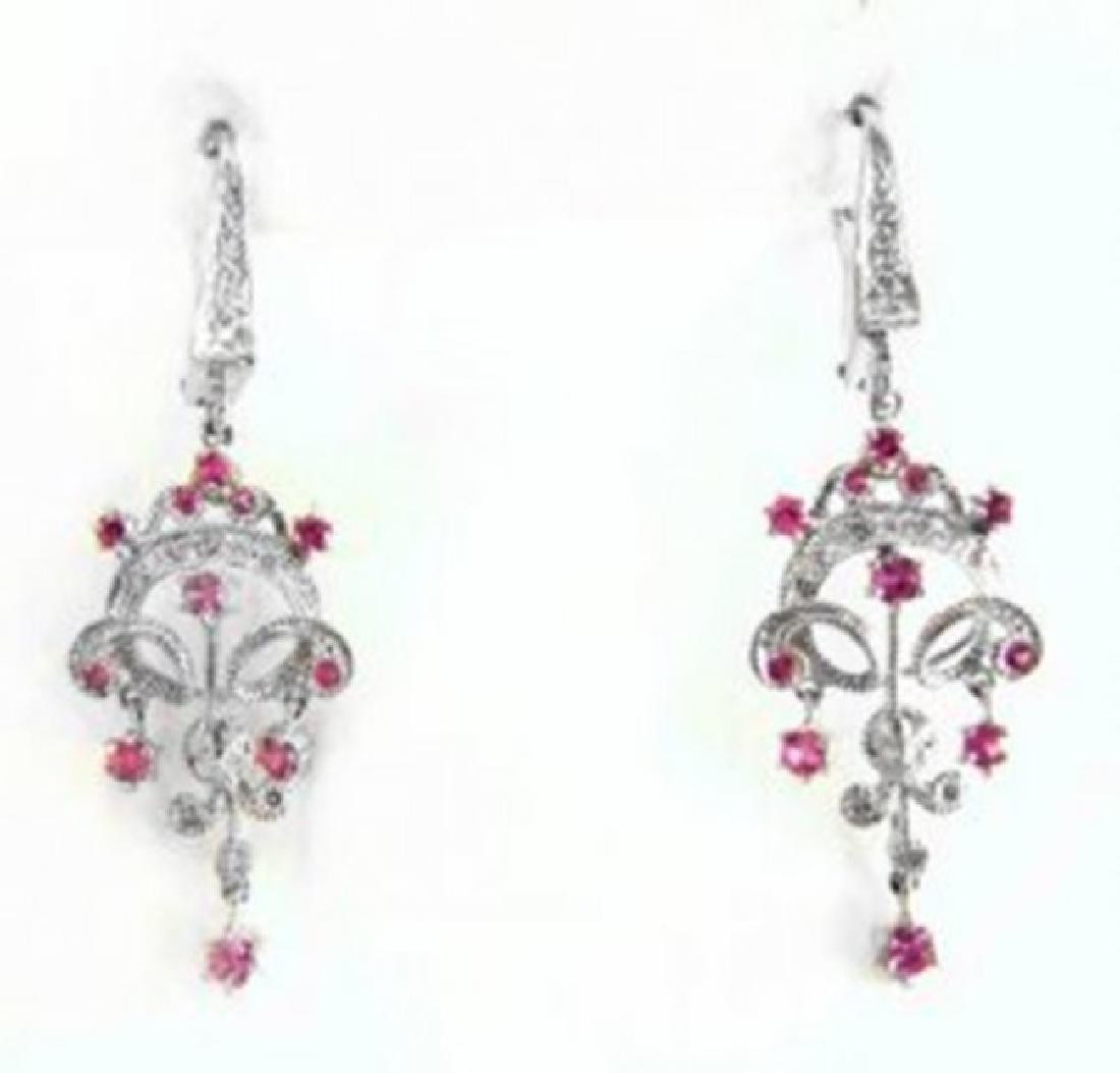 Pink Sapphire Diamond Chandelier Earring 1.47Ct 14k W/g - 2
