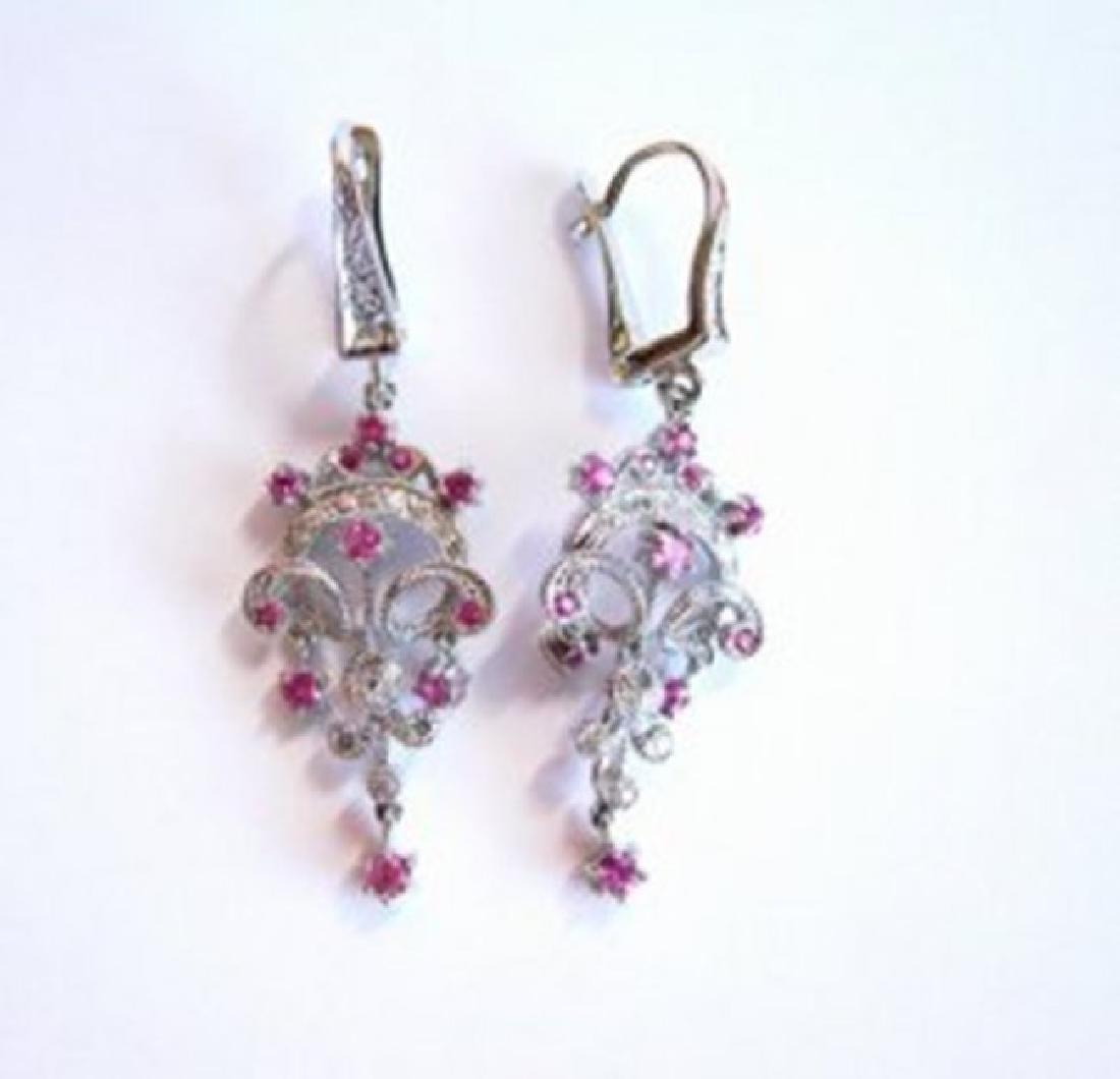 Pink Sapphire Diamond Chandelier Earring 1.47Ct 14k W/g - 3
