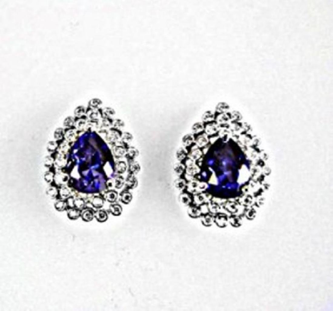 Creation Diamond/Tanzanit Earrings 3.29 CT 18k W/G Over