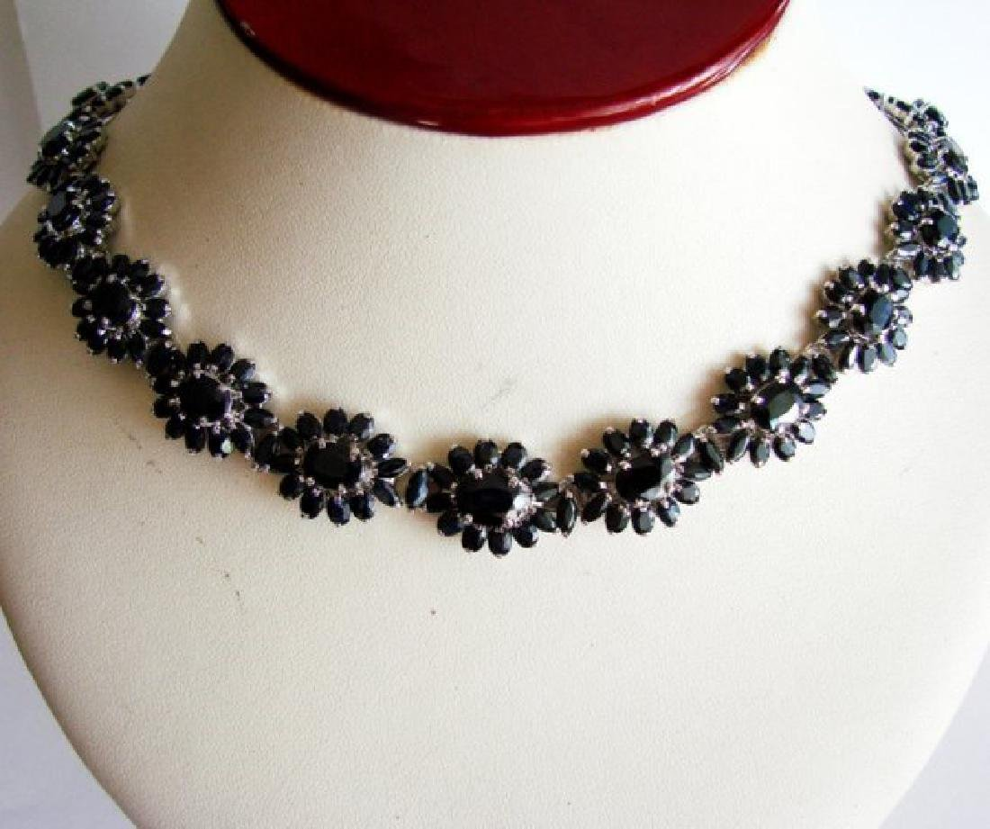 Natural Sapphire Necklace 84.62CT 18K W/g Overlay - 3