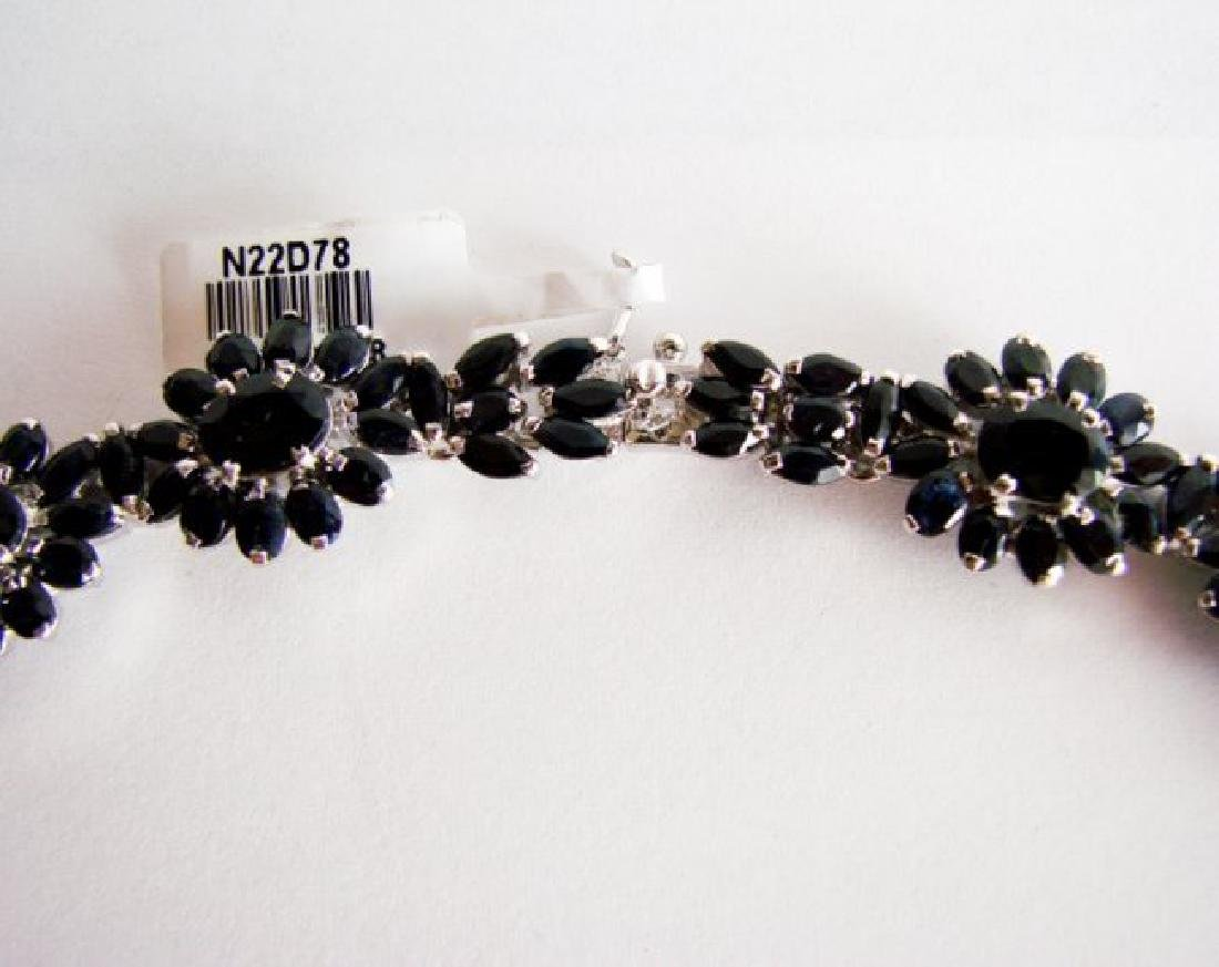 Natural Sapphire Necklace 84.62CT 18K W/g Overlay - 4