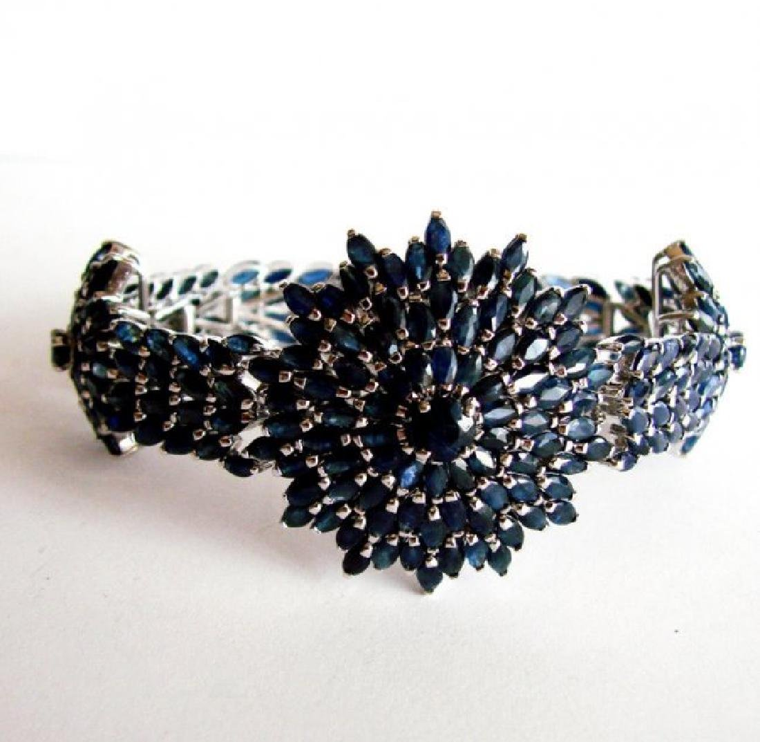 Natural Sapphire Bracelet 38.46Ct 18K W/g Overlay