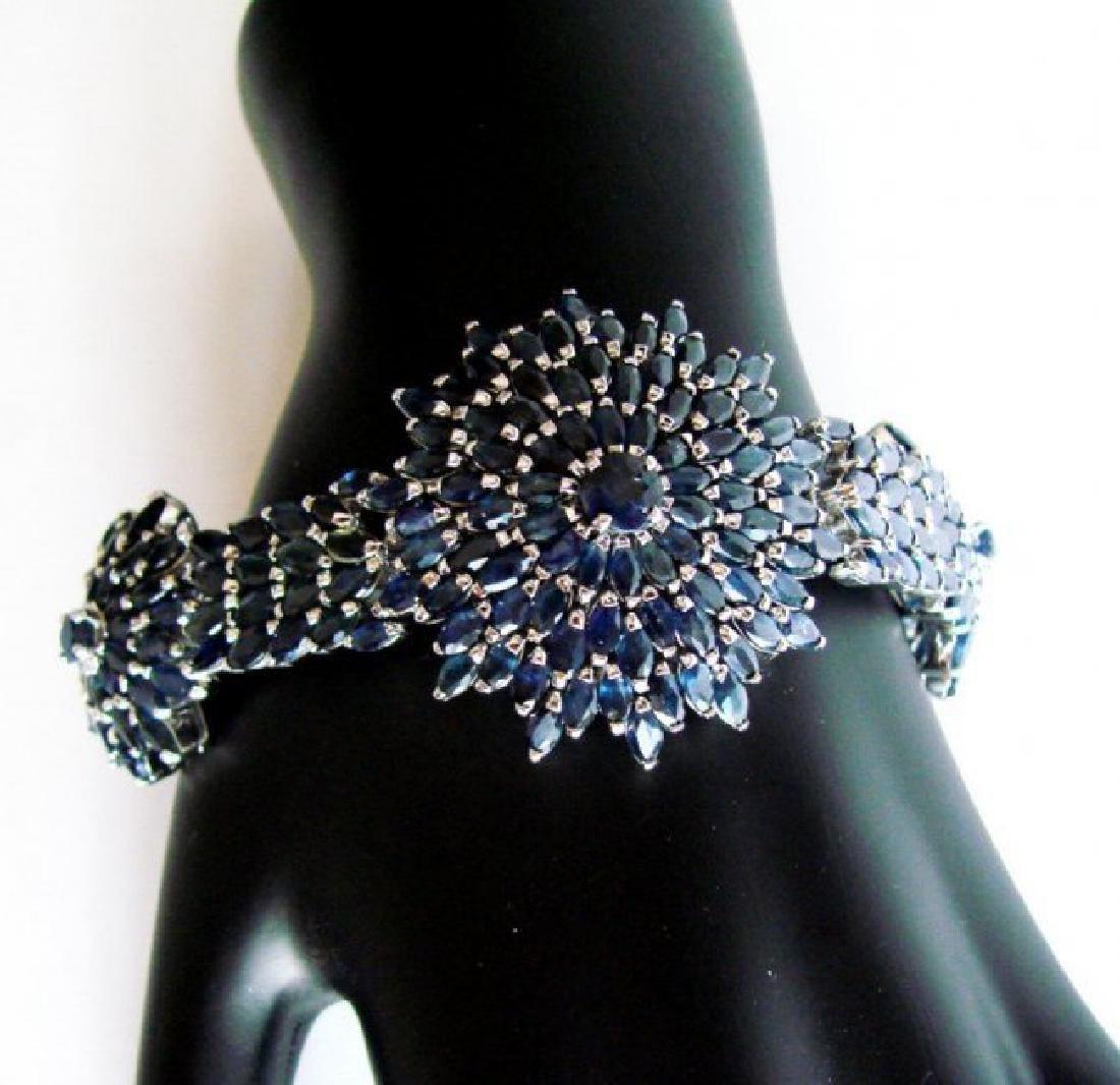 Natural Sapphire Bracelet 38.46Ct 18K W/g Overlay - 2