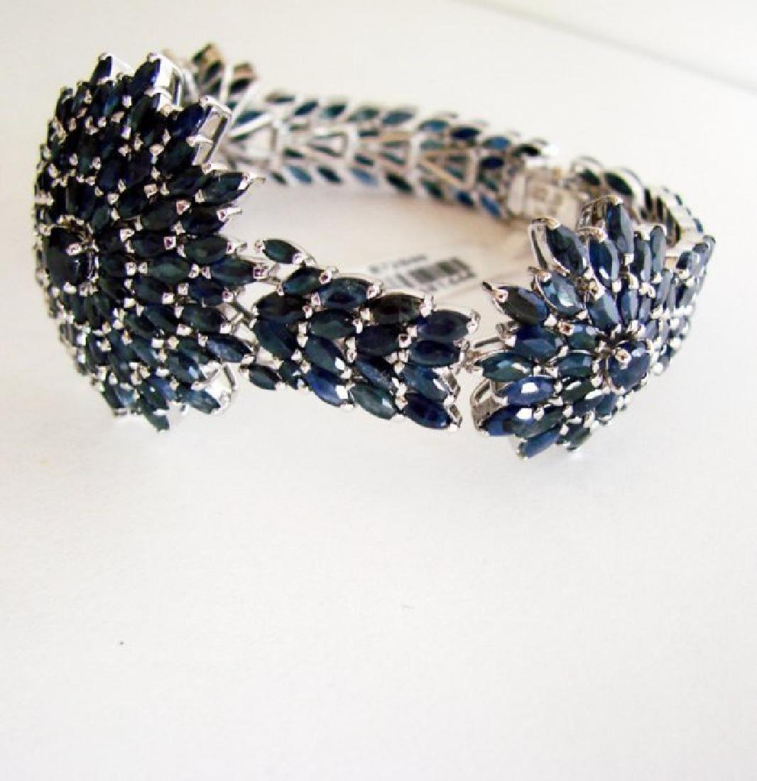 Natural Sapphire Bracelet 38.46Ct 18K W/g Overlay - 4