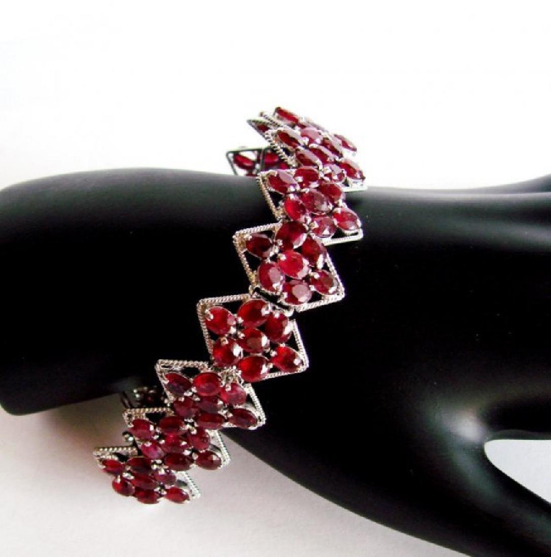 Natural Ruby Bracelet 46.14Ct 18K W/G Overlay