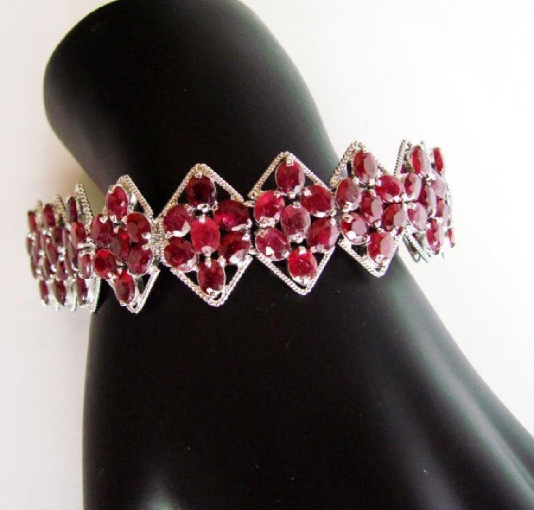 Natural Ruby Bracelet 46.14Ct 18K W/G Overlay - 2
