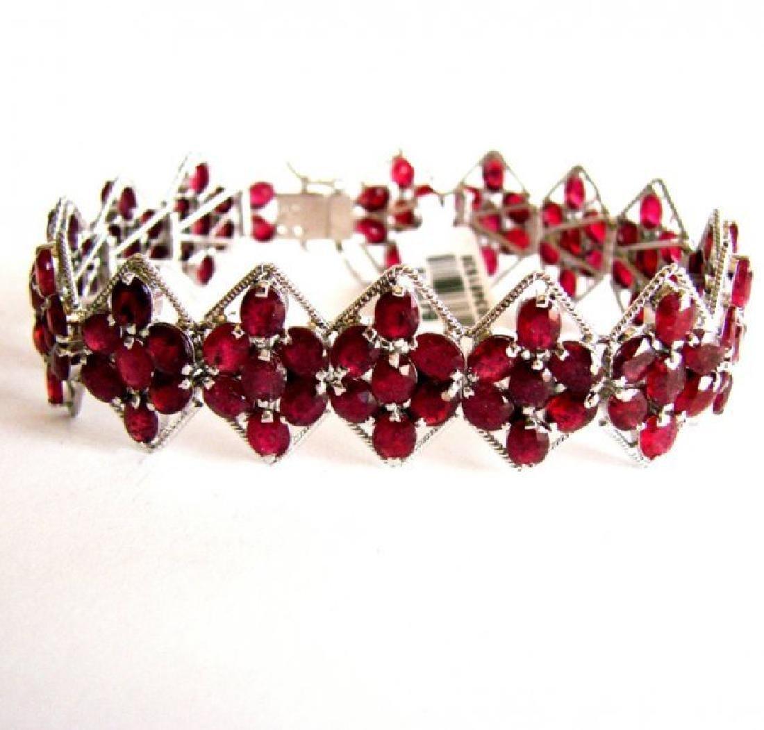 Natural Ruby Bracelet 46.14Ct 18K W/G Overlay - 3