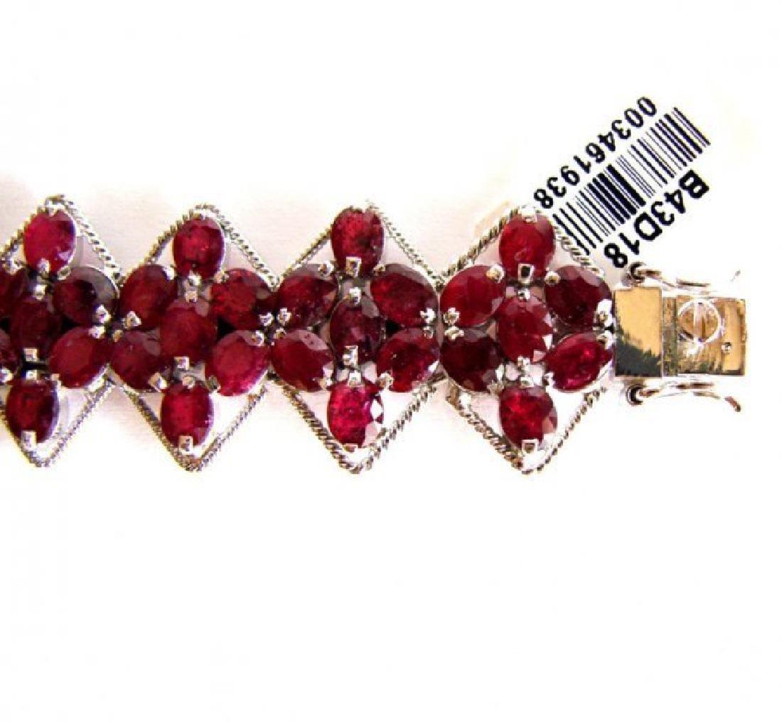 Natural Ruby Bracelet 46.14Ct 18K W/G Overlay - 4