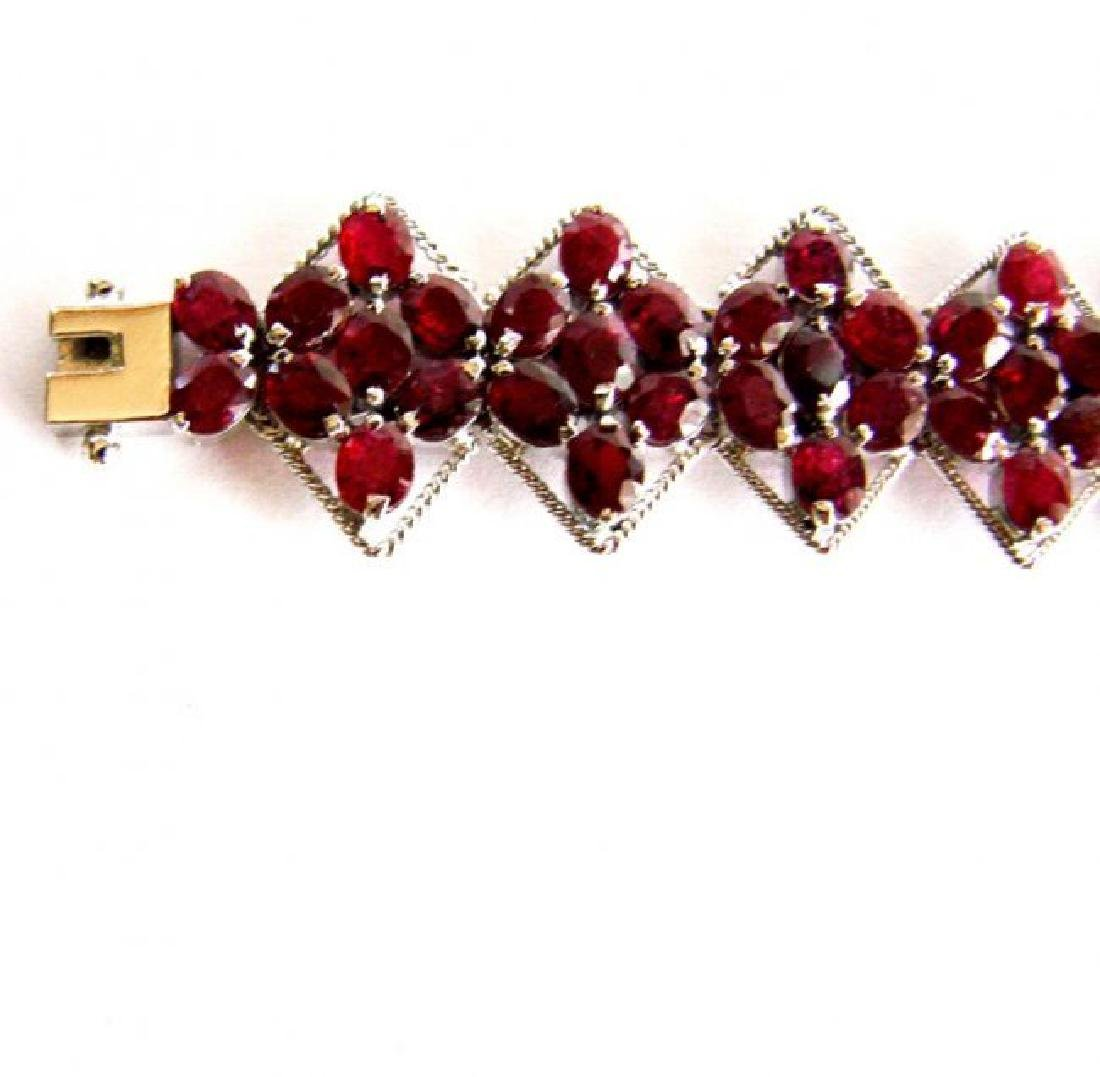 Natural Ruby Bracelet 46.14Ct 18K W/G Overlay - 5