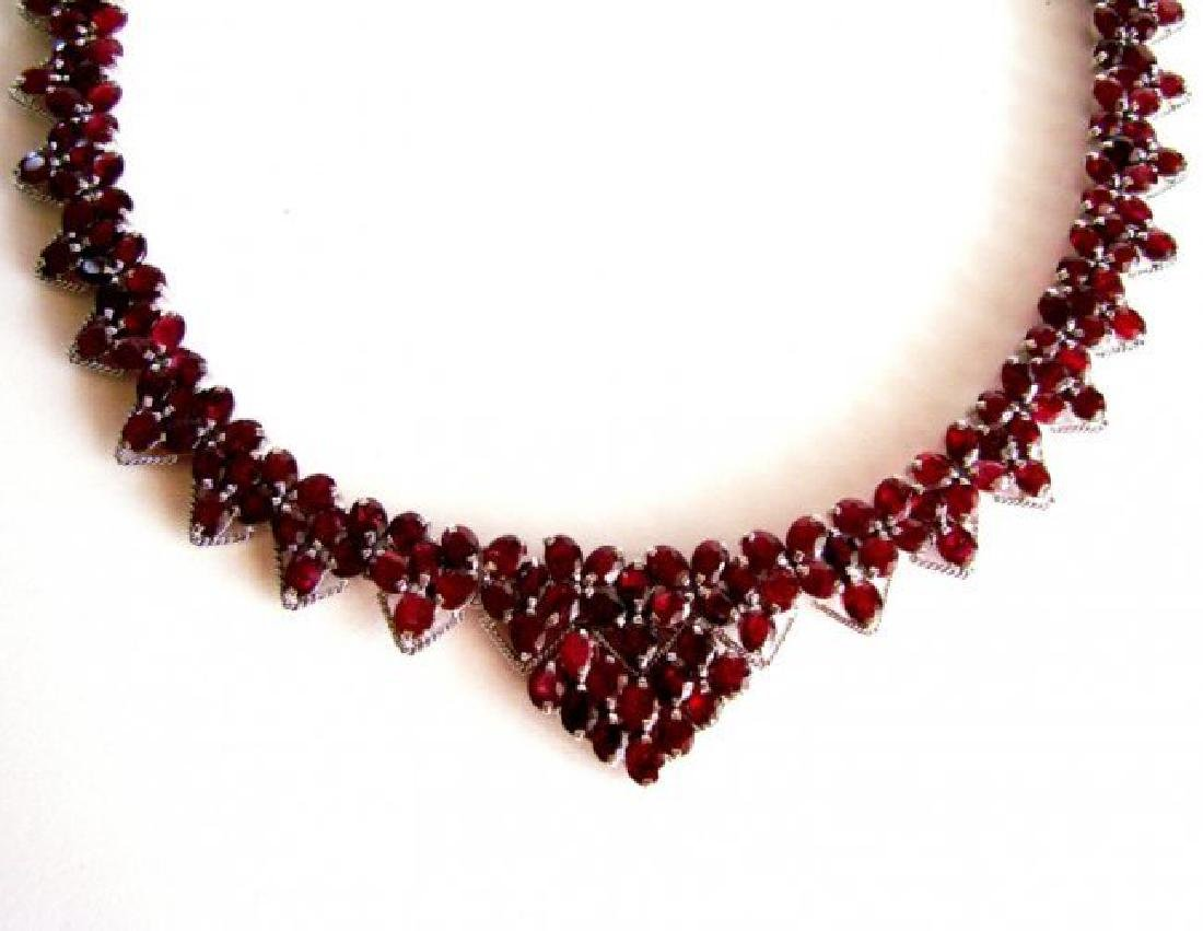 Natural Ruby Necklace 110.51Ct 18K W/G Overlay - 2