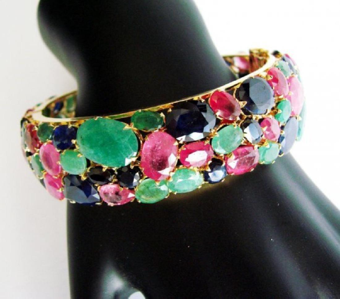 Bangle Natural Gems Multicolor 321.37Ct 18k Y/g Overlay