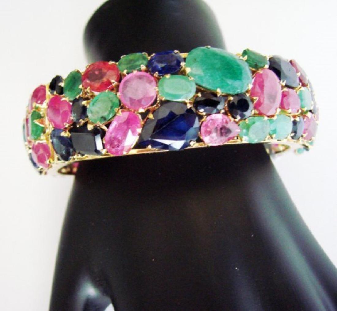 Bangle Natural Gems Multicolor 321.37Ct 18k Y/g Overlay - 2