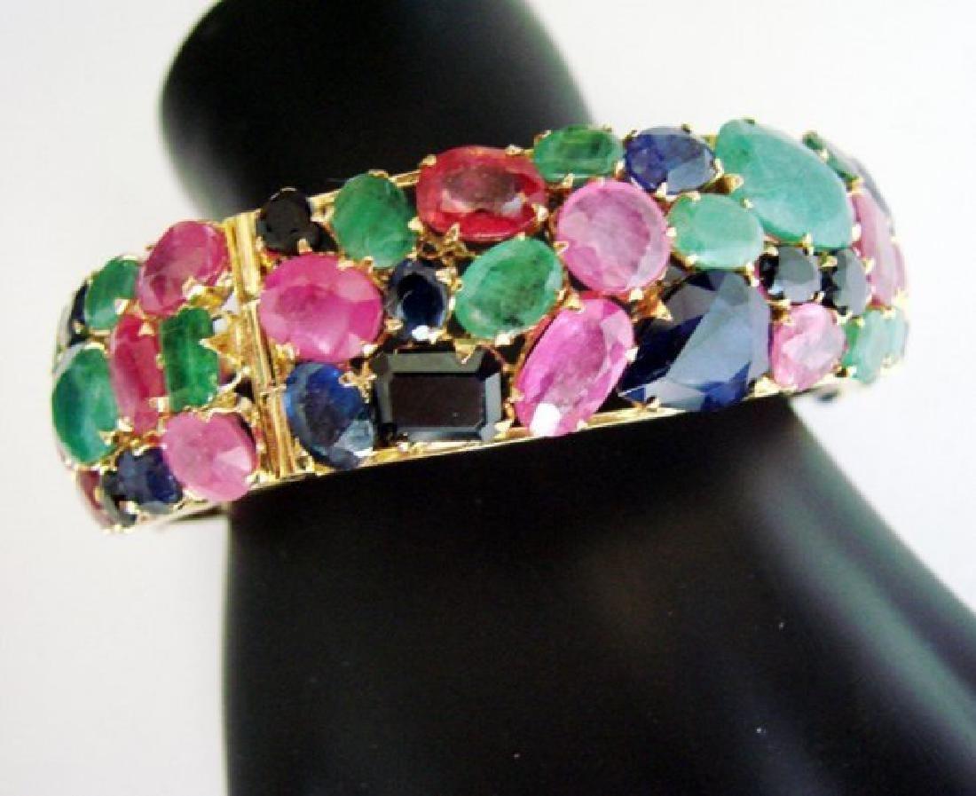 Bangle Natural Gems Multicolor 321.37Ct 18k Y/g Overlay - 3