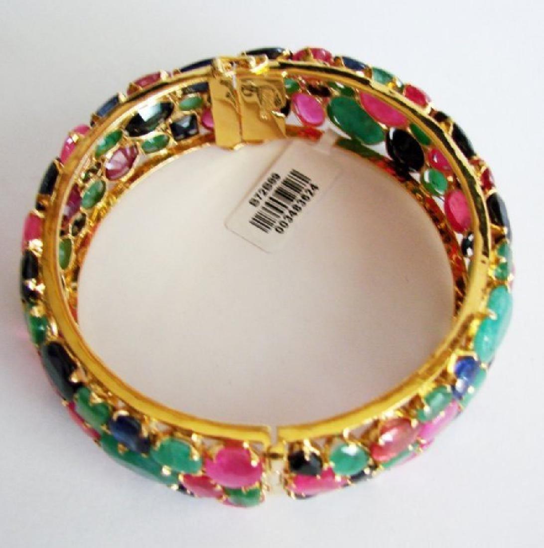 Bangle Natural Gems Multicolor 321.37Ct 18k Y/g Overlay - 5