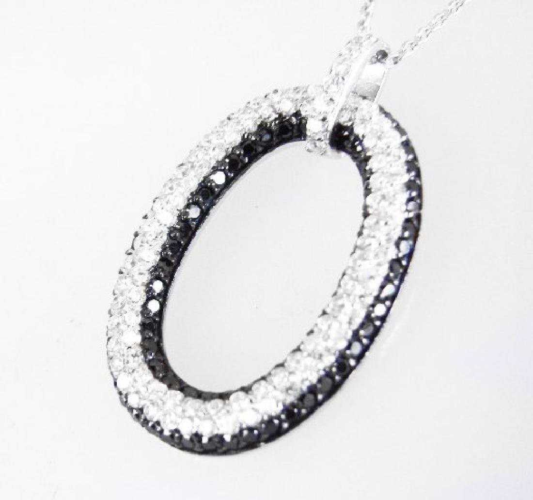 Creation Diamond W/B 1.00 CT Necklace 18k Y/G Overlay