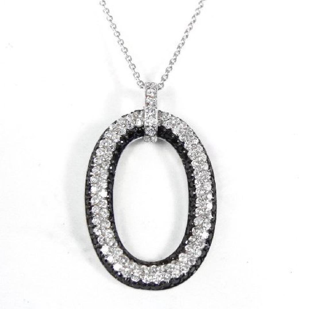Creation Diamond W/B 1.00 CT Necklace 18k Y/G Overlay - 4