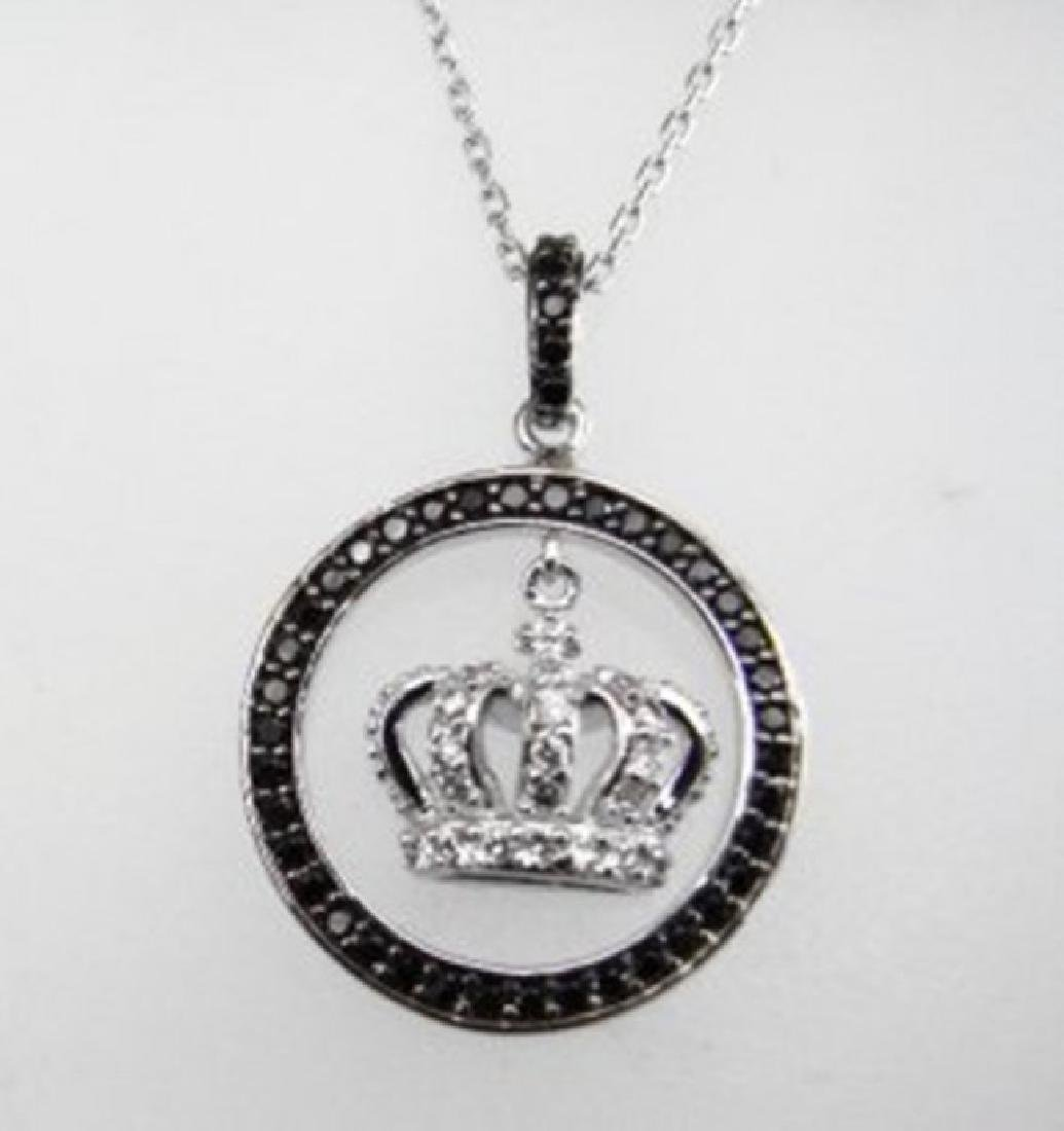 Creation Diamond W/B 2.16 CT Necklace 18k Y/G Overlay