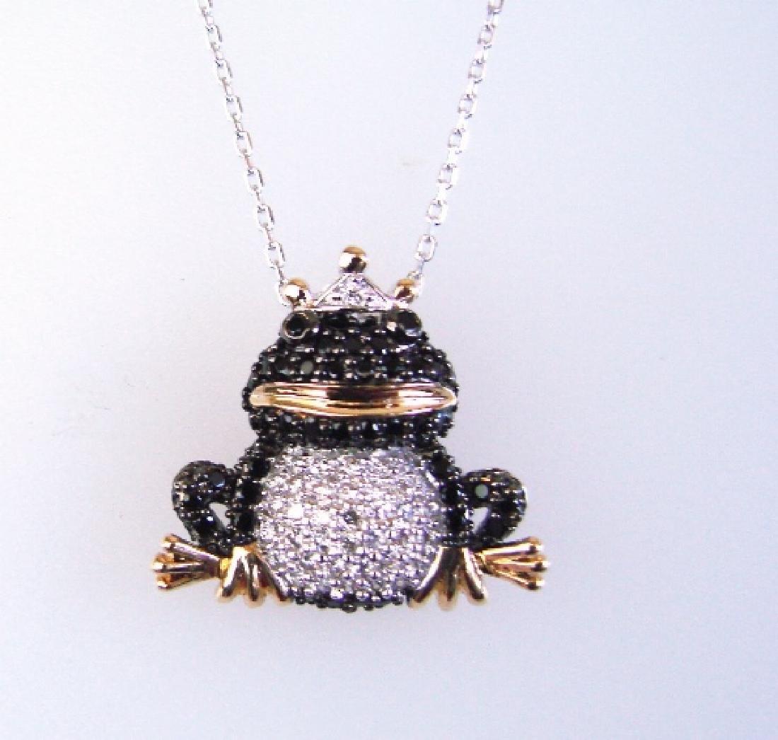 Creation Diamond W/B 1.23 CT Necklace 18k Y/G Overlay