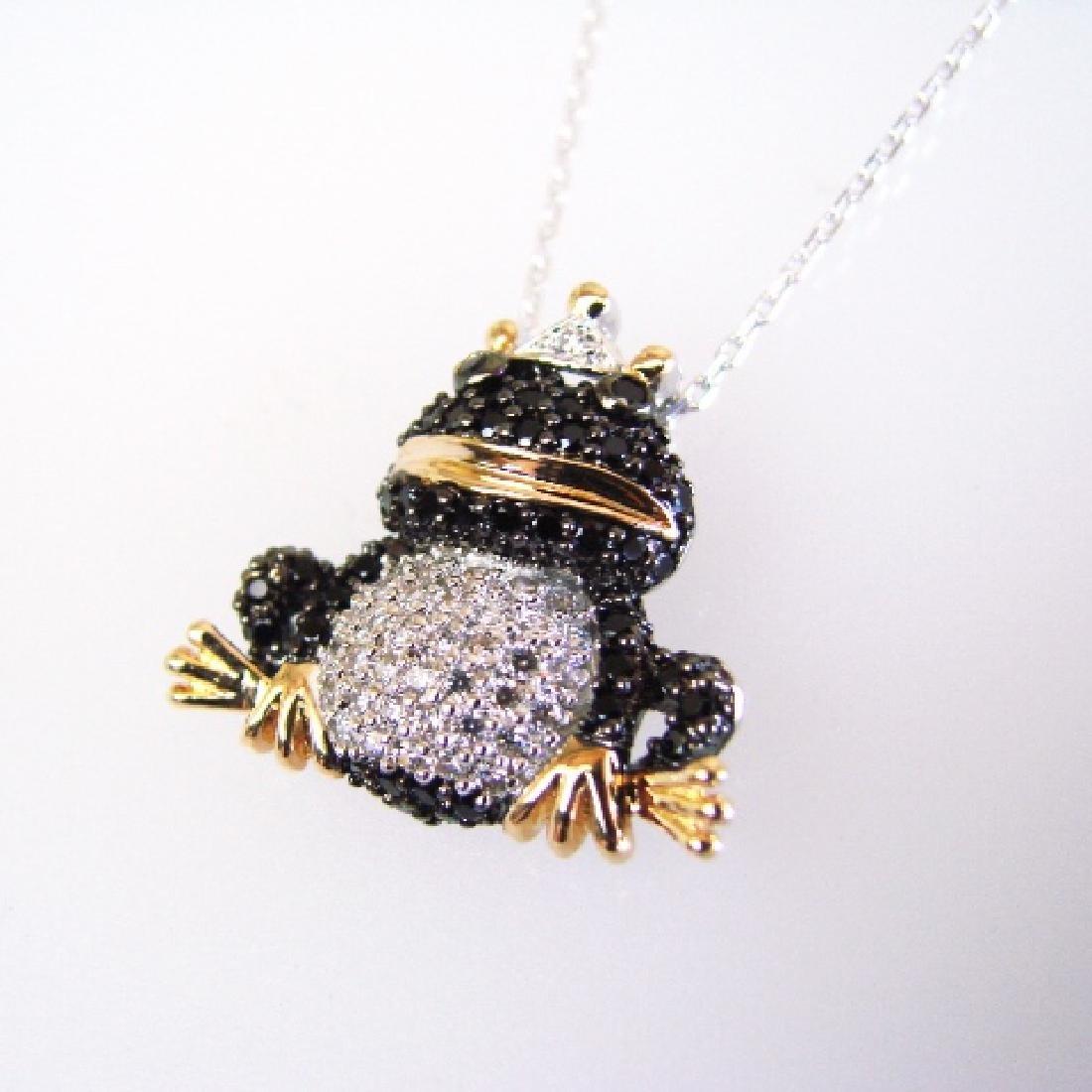 Creation Diamond W/B 1.23 CT Necklace 18k Y/G Overlay - 2