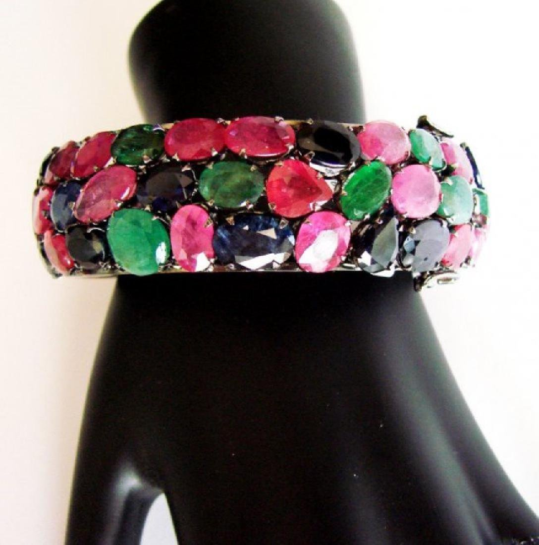 Bangle Natural Gems Multicolor 345.93Ct 18k B/g Overlay