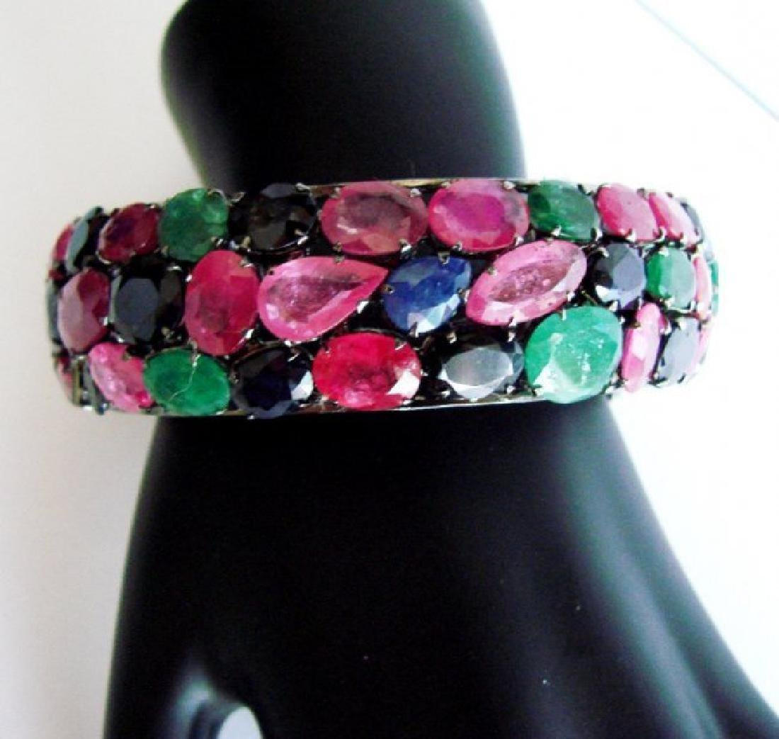 Bangle Natural Gems Multicolor 345.93Ct 18k B/g Overlay - 2