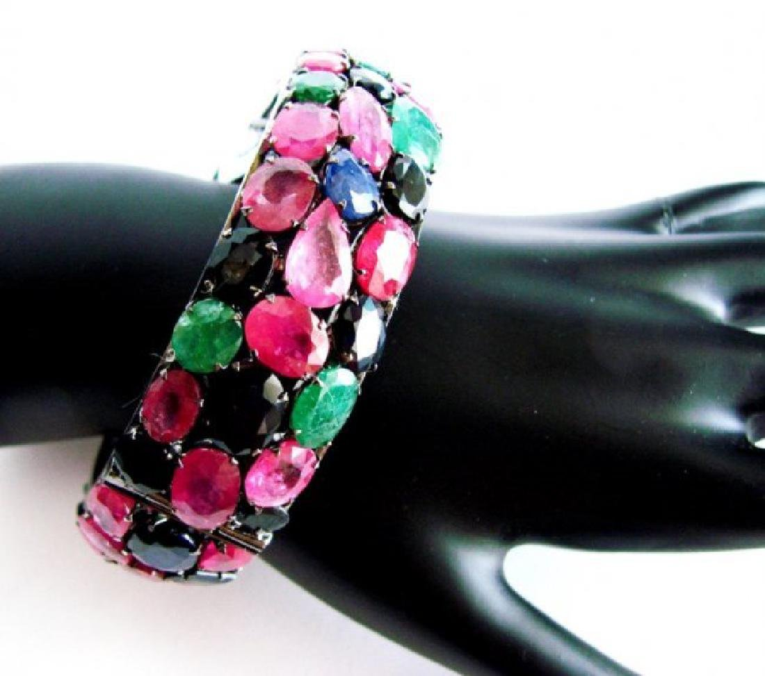 Bangle Natural Gems Multicolor 345.93Ct 18k B/g Overlay - 3