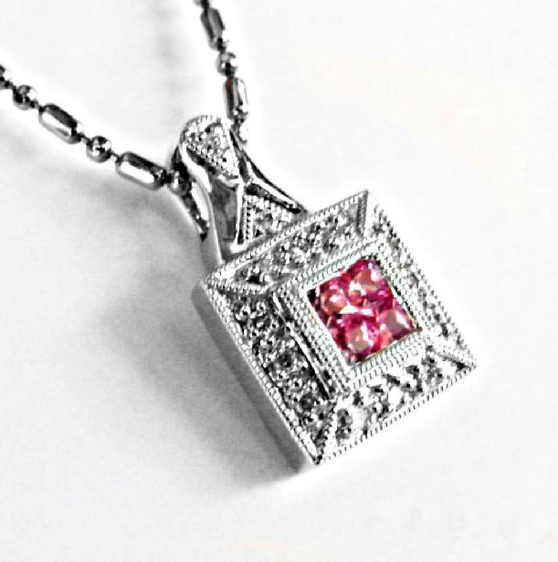 Diamond Pink Sapphire Square Pendant:.36Ct 18k W/g - 2