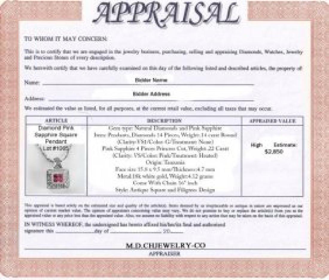 Diamond Pink Sapphire Square Pendant:.36Ct 18k W/g - 3