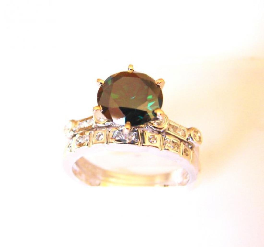 Natural Diamond Moissanite Wedding Ring 2.12Ct 18k W/g