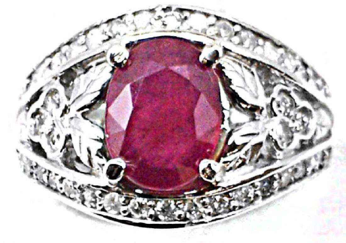Anniversary Ruby Diamond Ring 4.06Ct 14k W/g