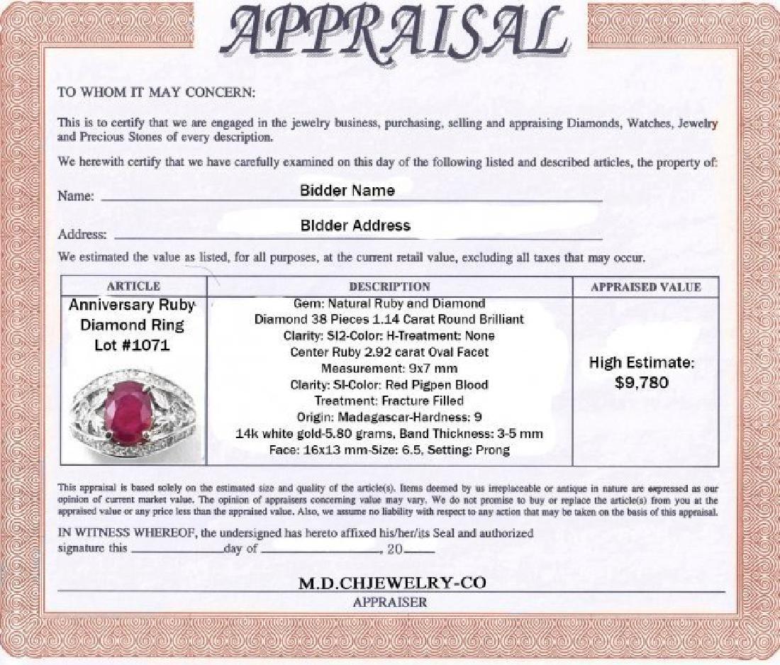 Anniversary Ruby Diamond Ring 4.06Ct 14k W/g - 2