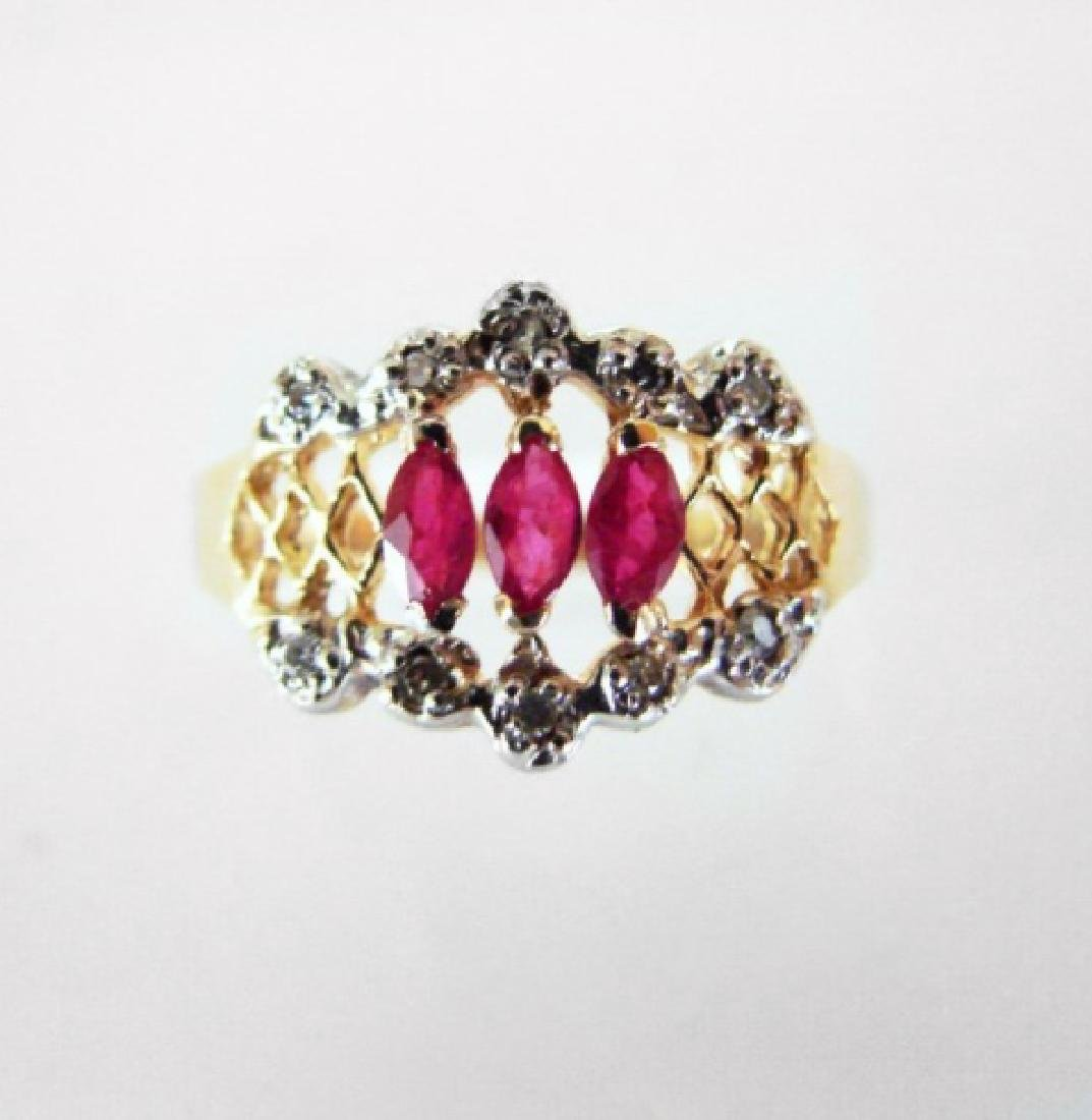 Marquise Ruby Diamond Ring .52Ct 14k Yellow Gold
