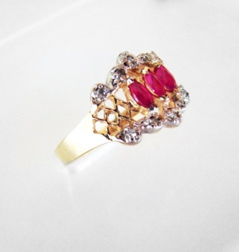 Marquise Ruby Diamond Ring .52Ct 14k Yellow Gold - 2