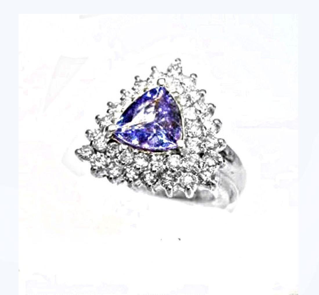 Anniversary Tanzanite Diamond Ring 4.08Ct 14k W/g