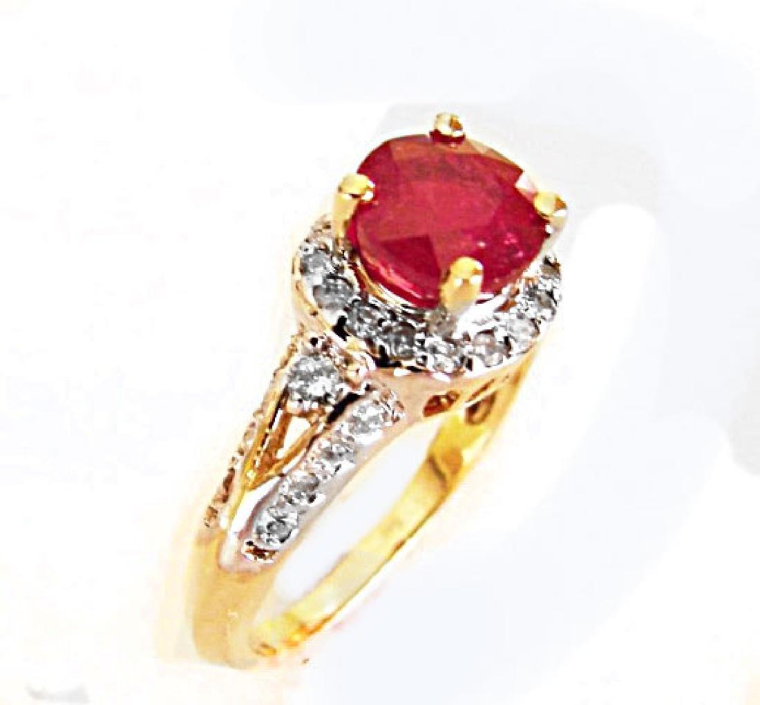 Ruby Diamond Ring 2.37Ct 14k Yellow Gold - 2