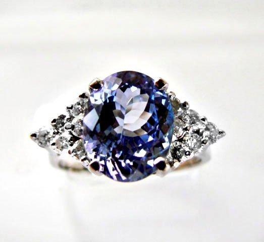Tanzanite & Diamond Ring 3.90Ct 14k W/G