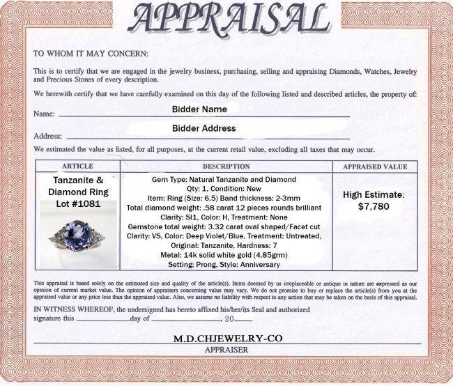 Tanzanite & Diamond Ring 3.90Ct 14k W/G - 4