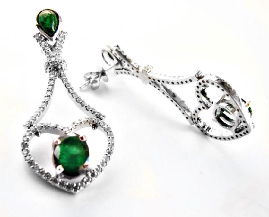 Emarald-Diamond Earrings Dangle 6.93Ct 14k W/g