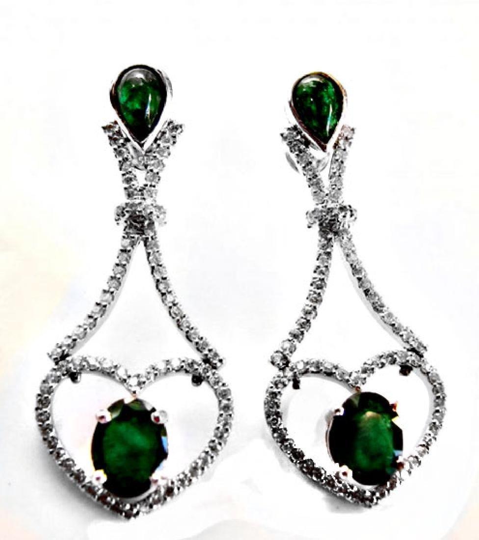 Emarald-Diamond Earrings Dangle 6.93Ct 14k W/g - 2