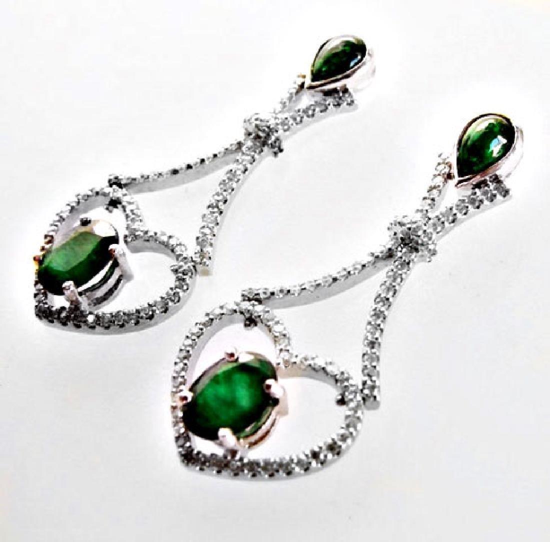 Emarald-Diamond Earrings Dangle 6.93Ct 14k W/g - 4