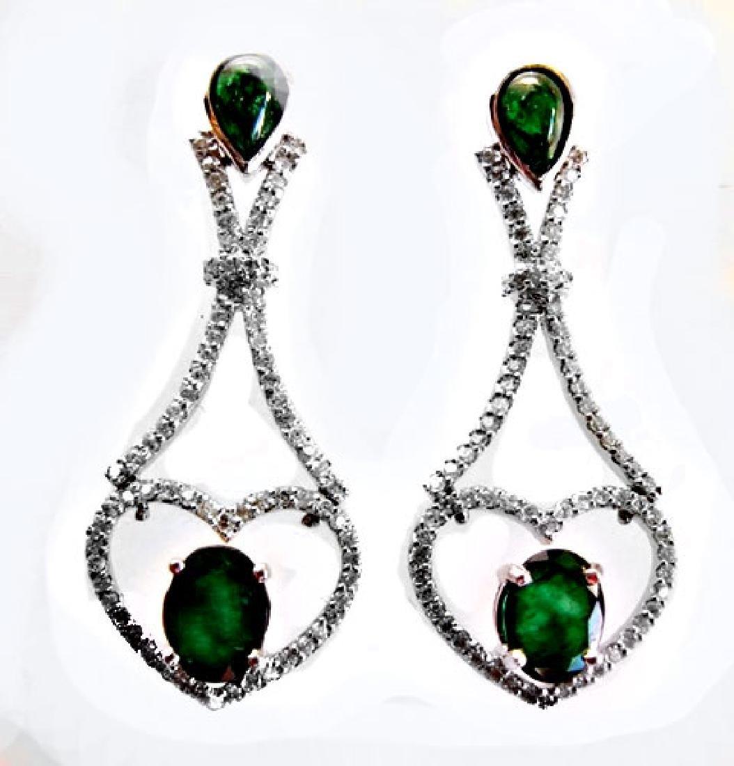 Emarald-Diamond Earrings Dangle 6.93Ct 14k W/g - 5