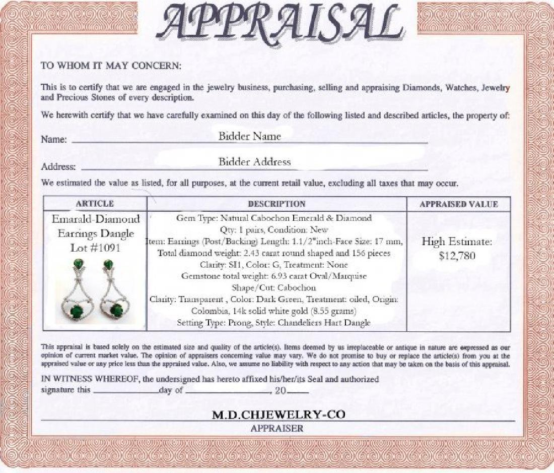 Emarald-Diamond Earrings Dangle 6.93Ct 14k W/g - 6