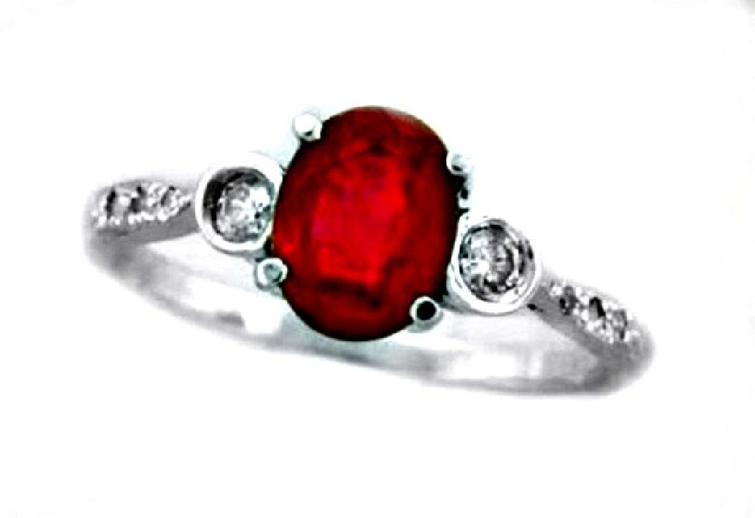 Ruby Ring 1.30Ct & Diamond .22Ct 14k W/g