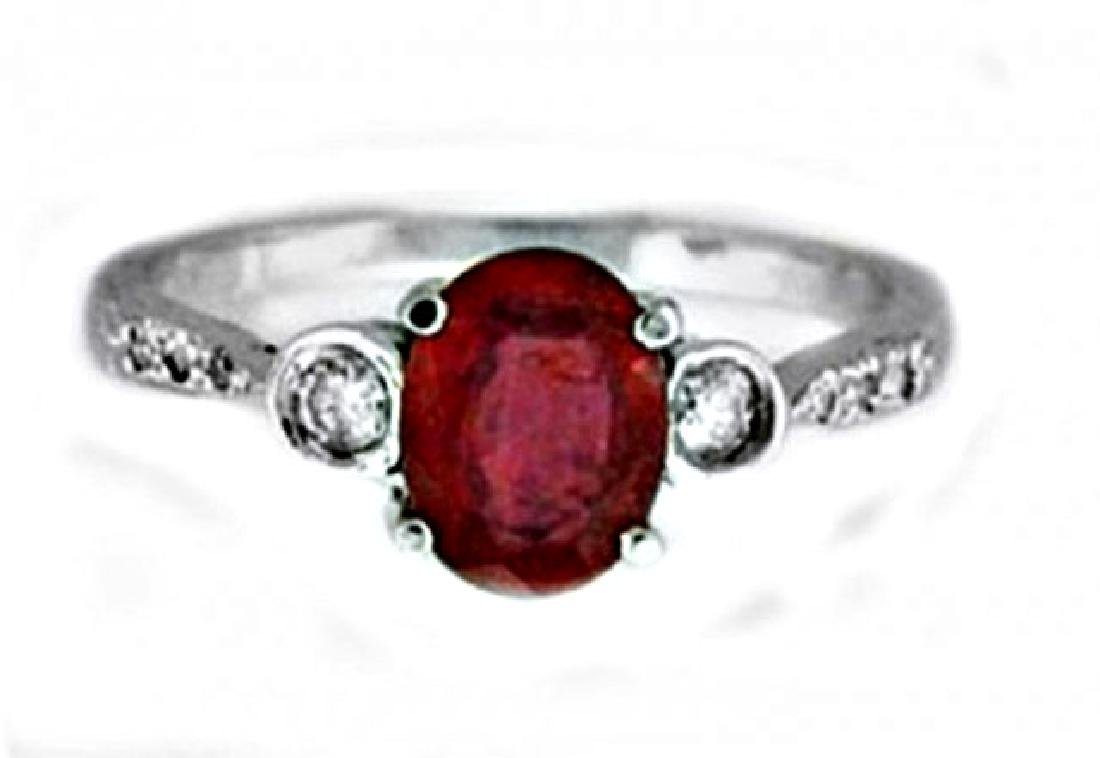 Ruby Ring 1.30Ct & Diamond .22Ct 14k W/g - 2